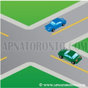 two vehicles arrive at an uncontrolled intersection at approximately the same time