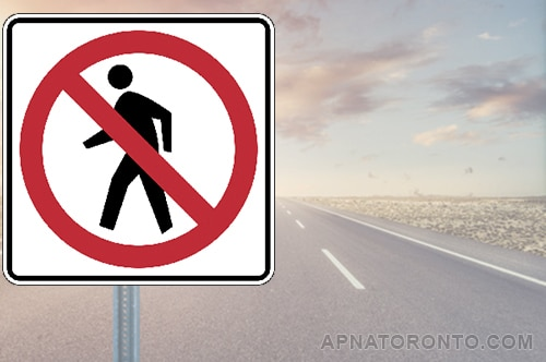No pedestrians allowed on this road