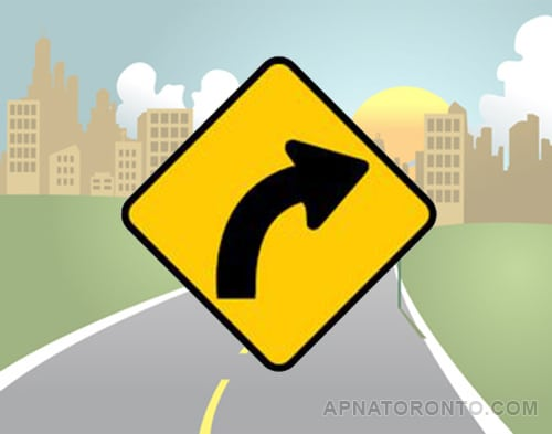 Slight bend or curve in the road ahead